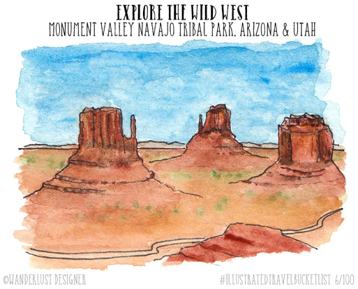 Explore the Wild West in Monument Valley - Illustrated Travel Bucket List by Wanderlust Designer