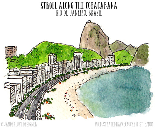Stroll Along the Copacabana in Rio - Illustrated Travel Bucket List by Wanderlust Designer