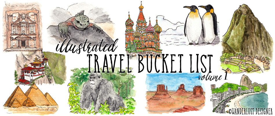 Illustrated Travel Bucket List Volume 1 by Wanderlust Designer