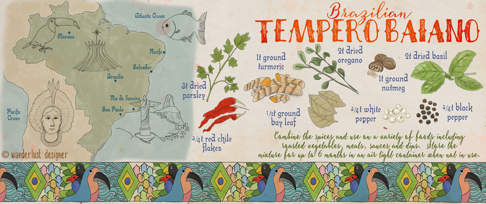 Brazilian Tempero Baiano Spice Mix Illustrated Recipe by Wanderlust Designer
