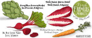 Fresh Farmers Markets of the West Coast (story and illustration by Wanderlust Designer)