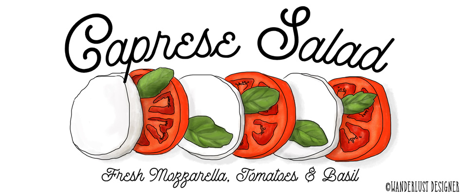 Fresh Caprese Salad from Italy (illustration by Wanderlust Designer)