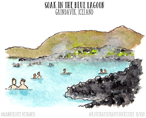 Soak in the Blue Lagoon - Illustrated Travel Bucket List by Wanderlust Designer