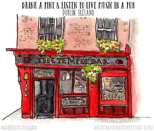 Drink a Pint in Dublin - Illustrated Travel Bucket List by Wanderlust Designer