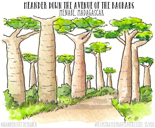 Meander Down the Avenue of the Baobabs, Madagascar - Illustrated Travel Bucket List by Wanderlust Designer