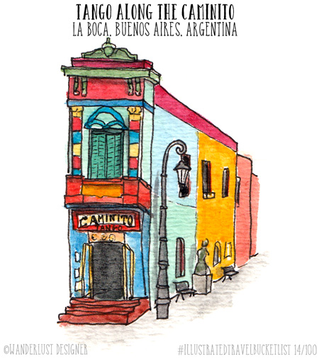 Tango Along the Caminito in La Boca, Buenos Aires - Illustrated Travel Bucket List by Wanderlust Designer