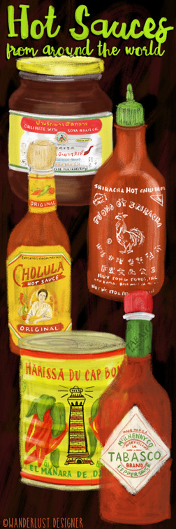 Hot Sauces from Around the World by Wanderlust Designer