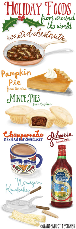Holiday Foods from Around the World by Wanderlust Designer