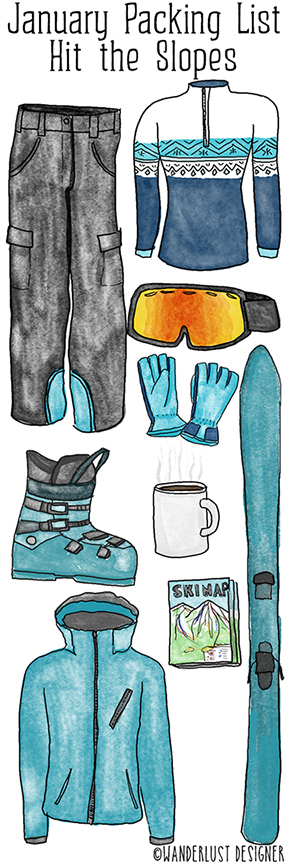 January Packing List: Hit the Slopes by Wanderlust Designer