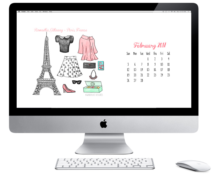 Free Desktop and iPad Wallpaper: February 2017 Romantic Getaway by Wanderlust Desiger
