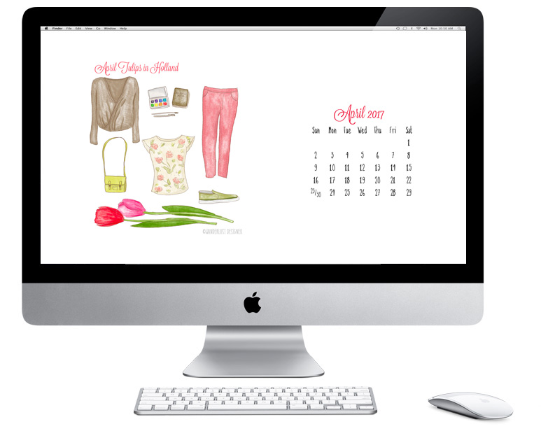 Free April 2017 Calendar: Tulips in Holland Packing List by Wanderlust Designer