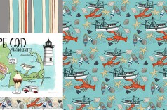 A Day at the Shore Collection Surface Design and Illustrations by Betsy Beier, Wanderlust Designer