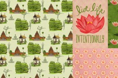 Bali Om Collection Surface Design and Illustrations by Betsy Beier, Wanderlust Designer