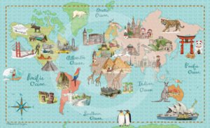 Bucket List Map of the World by Betsy Beier, Wanderlust Designer