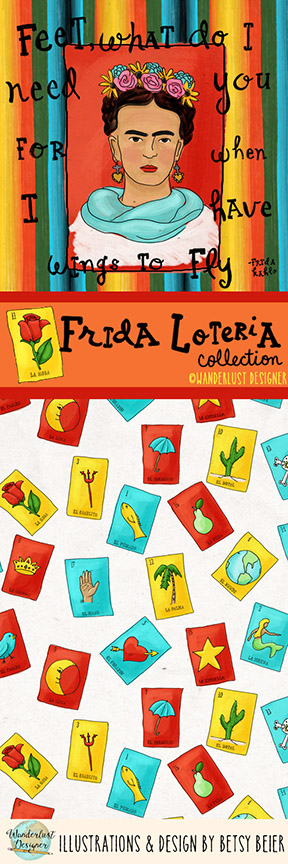 Frida Loteria Surface Design & Illustration Collection by Wanderlust Designer