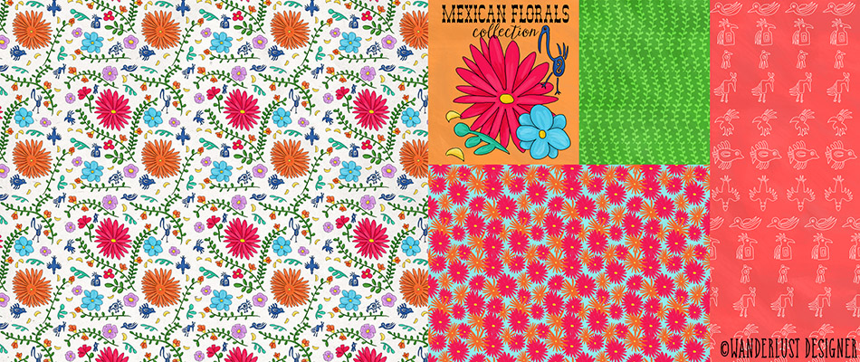 Mexican Floral Surface Design and Illustration Collection by Betsy Beier, Wanderlust Designer
