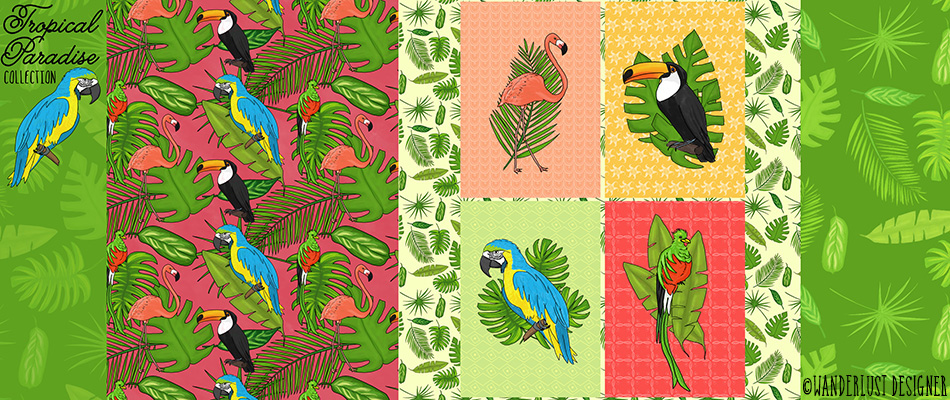 Tropical Paradise Patterns and Illustrations Collection by Betsy Beier, Wanderlust Designer