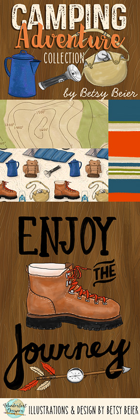 Camping Adventure Collection: Patterns and Illustrations by Wanderlust Designer