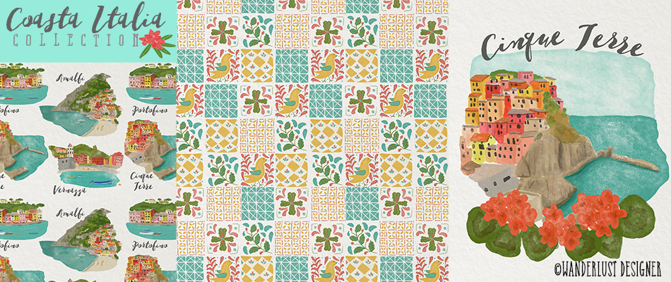 Coasta Italia Illustrations and Patterns by Wanderlust Designer