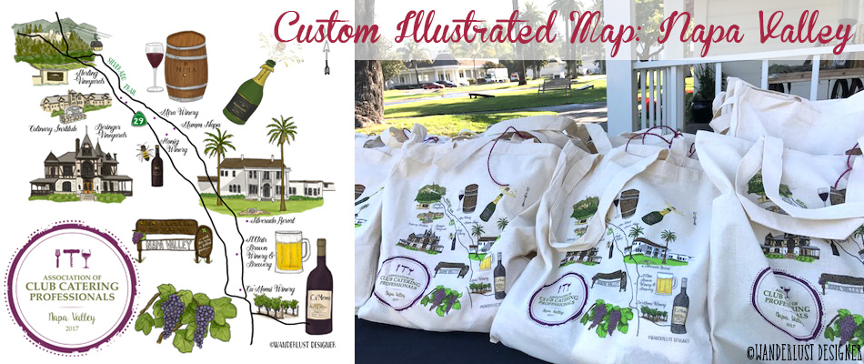 Custom Illustrated Map of Napa Valley by Wanderlust Designer
