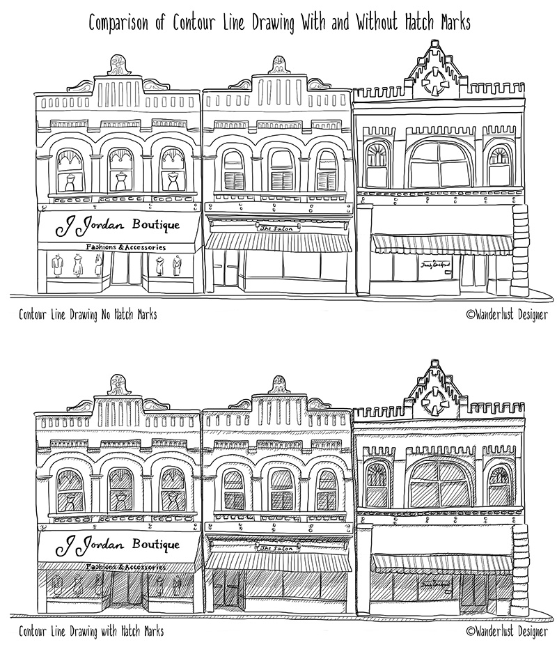 Line Art Example With and Without Hatch Marks by Wanderlust Designer