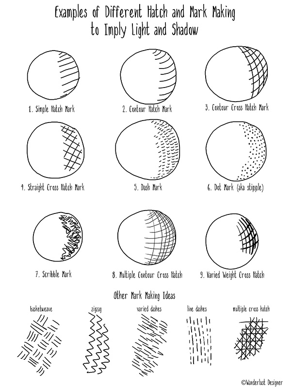 Examples of Hatching Marks by Wanderlust Designer