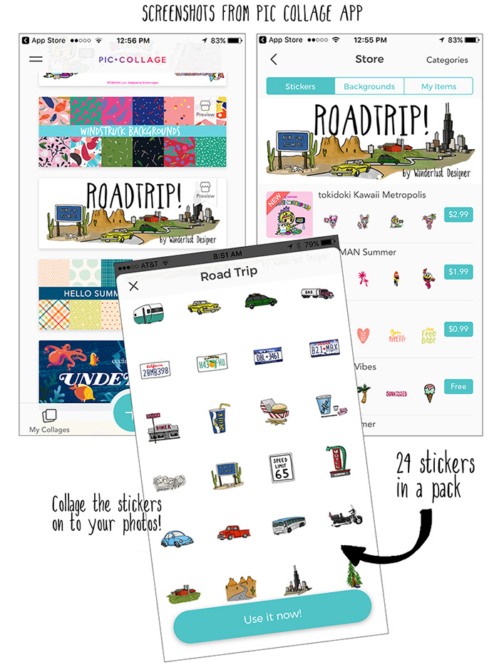 Road Trip Sticker Pack in Pic Collage App by Wanderlust Designer