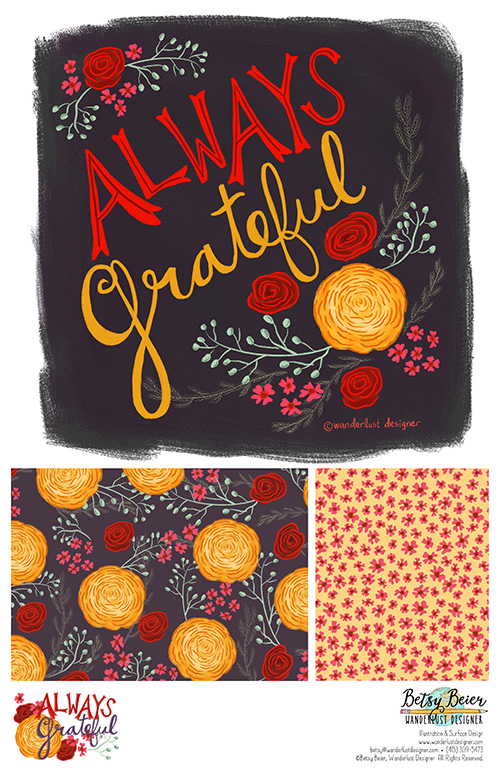 Always Grateful Floral Collection by Betsy Beier