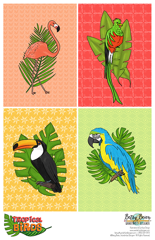 Tropical Birds Collection by Betsy Beier