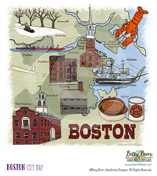 Boston Map by Betsy Beier