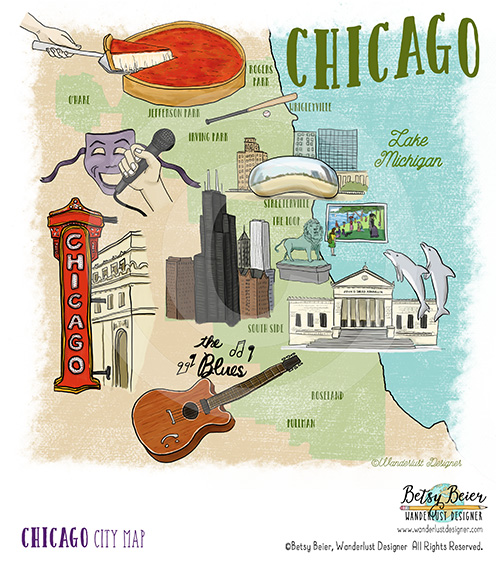 Chicago Map by Betsy Beier