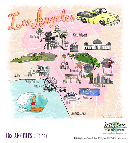 Los Angeles Map by Betsy Beier