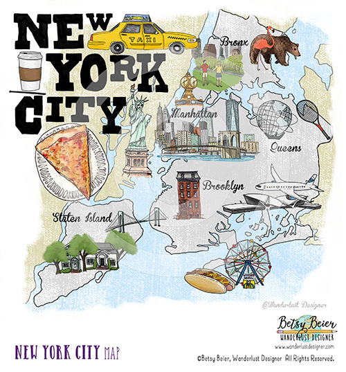 New York City Map by Betsy Beier