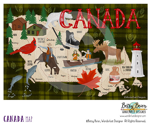 Canada Map by Betsy Beier