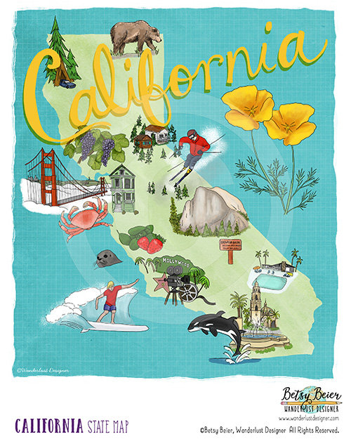 California State Map by Betsy Beier