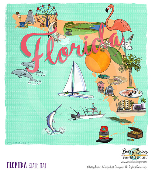 Florida State Map by Betsy Beier