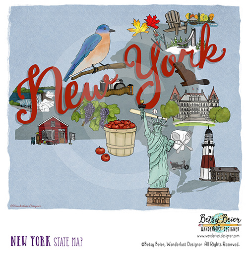 New York State Map by Betsy Beier