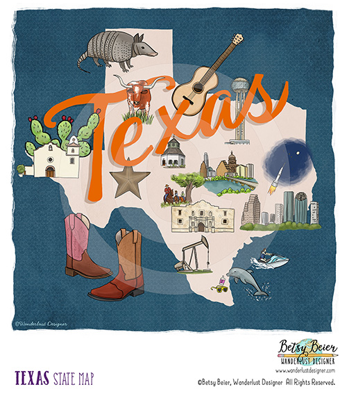 Texas State Map by Betsy Beier