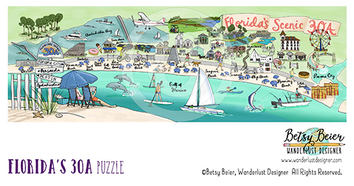 Florida's Scenic 30A Map: Puzzle by Betsy Beier