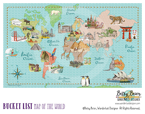 Bucket List Map of the World by Betsy Beier