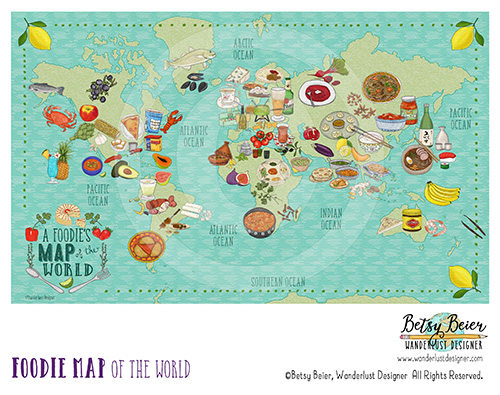Foodie Map of the World by Betsy Beier