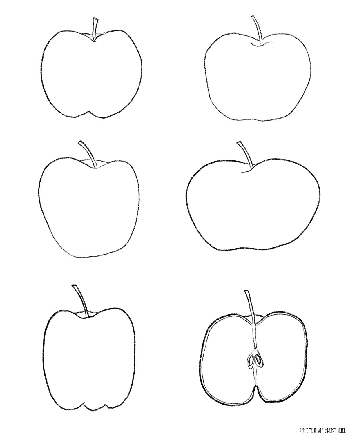 Free Printable Apple Template by Betsy Beier