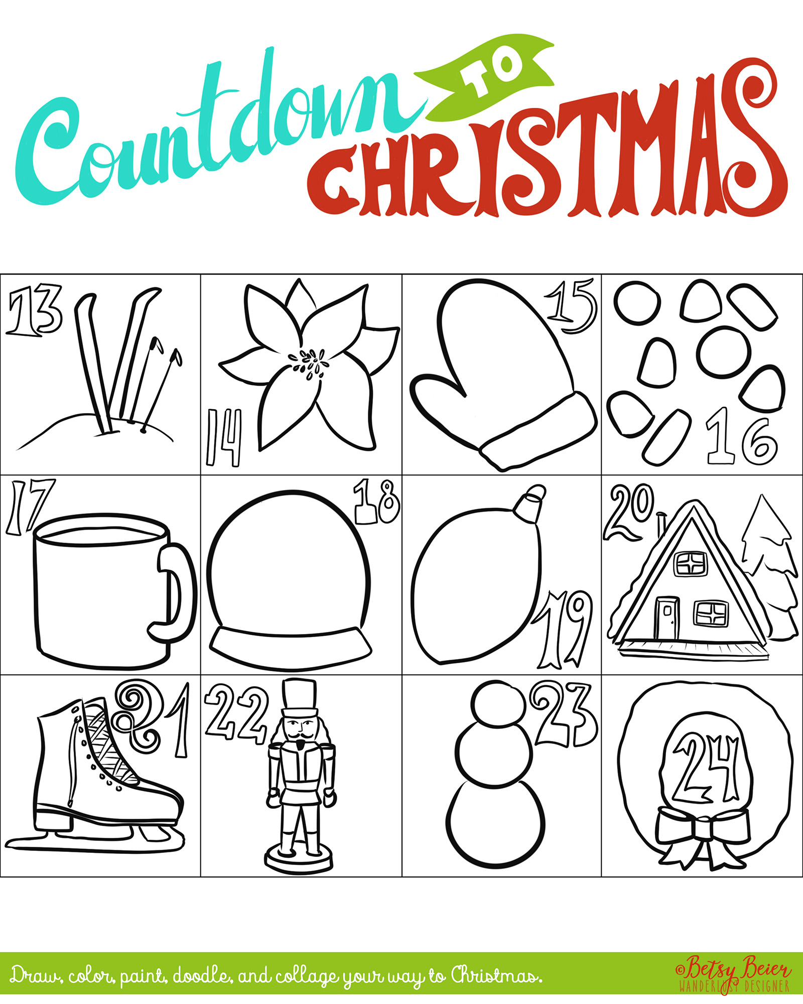 Free Printable Countdown to Christmas Art Project - Days 13-24 by Betsy Beier