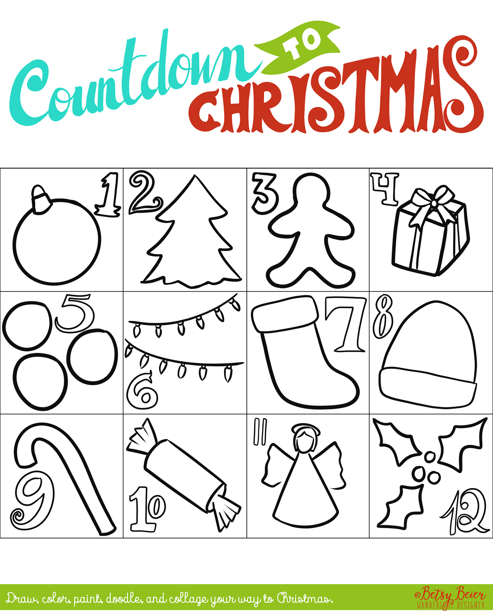 Free Printable Countdown to Christmas Art Project - Days 1-12 by Betsy Beier