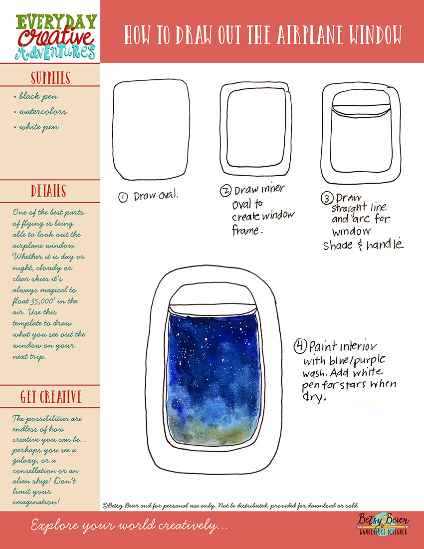 Everyday Creative Adventures: How to Draw Out the Airplane Window by Wanderlust Designer