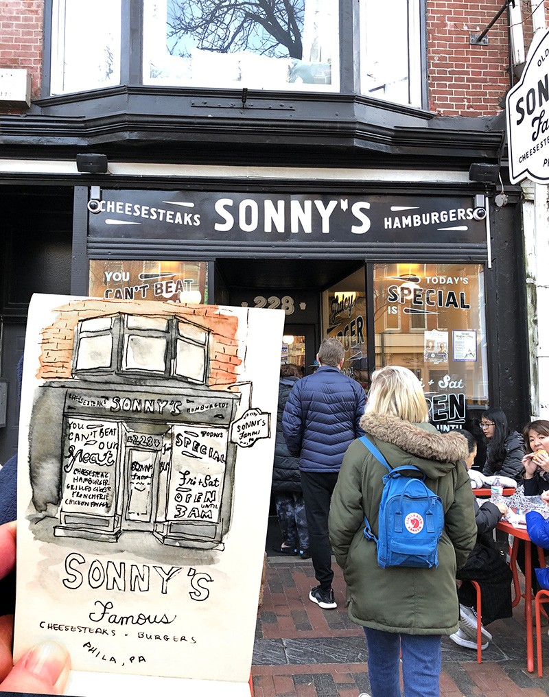 Sketching in Line for Famous Philly Cheesesteaks at Sonny's in Philadelphia (by Betsy Beier)