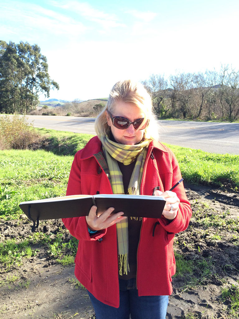 Sketching on a Winter Day in Pescadero, CA (Betsy Beier, Wanderlust Designer)