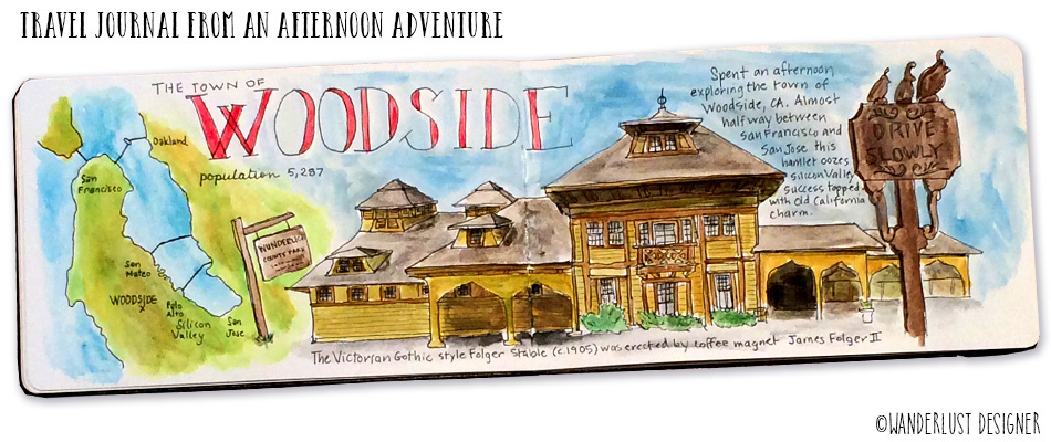 Travel Journal Spread from An Afternoon Adventure: Woodside, CA by Betsy Beier